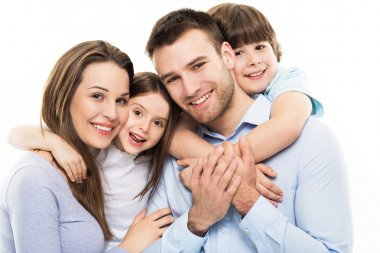 Happy family with little kids