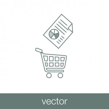 Illustration icon showing a shopping cart and a financial document.