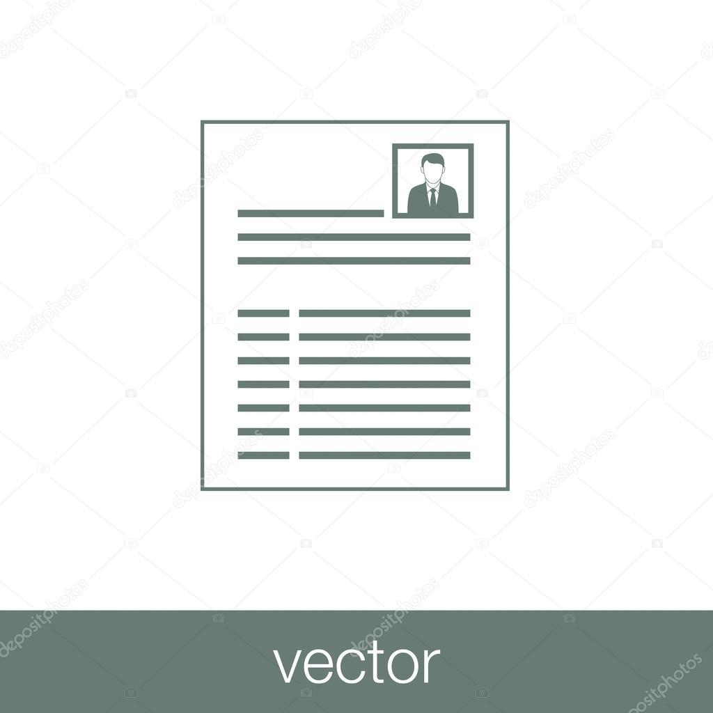 Minimalist resume concept icon.