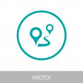 Progress concept. Pin points on the road concept icon. Stock illustration flat design icon.