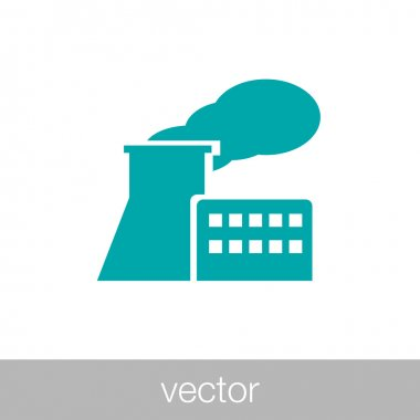 Manufacturing plant and factory icon. Stock illustration flat de
