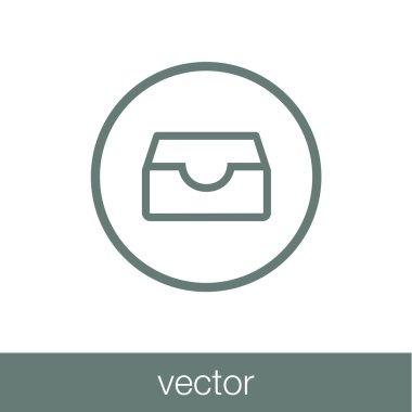 Archive icon. Archival cardboard box icon.