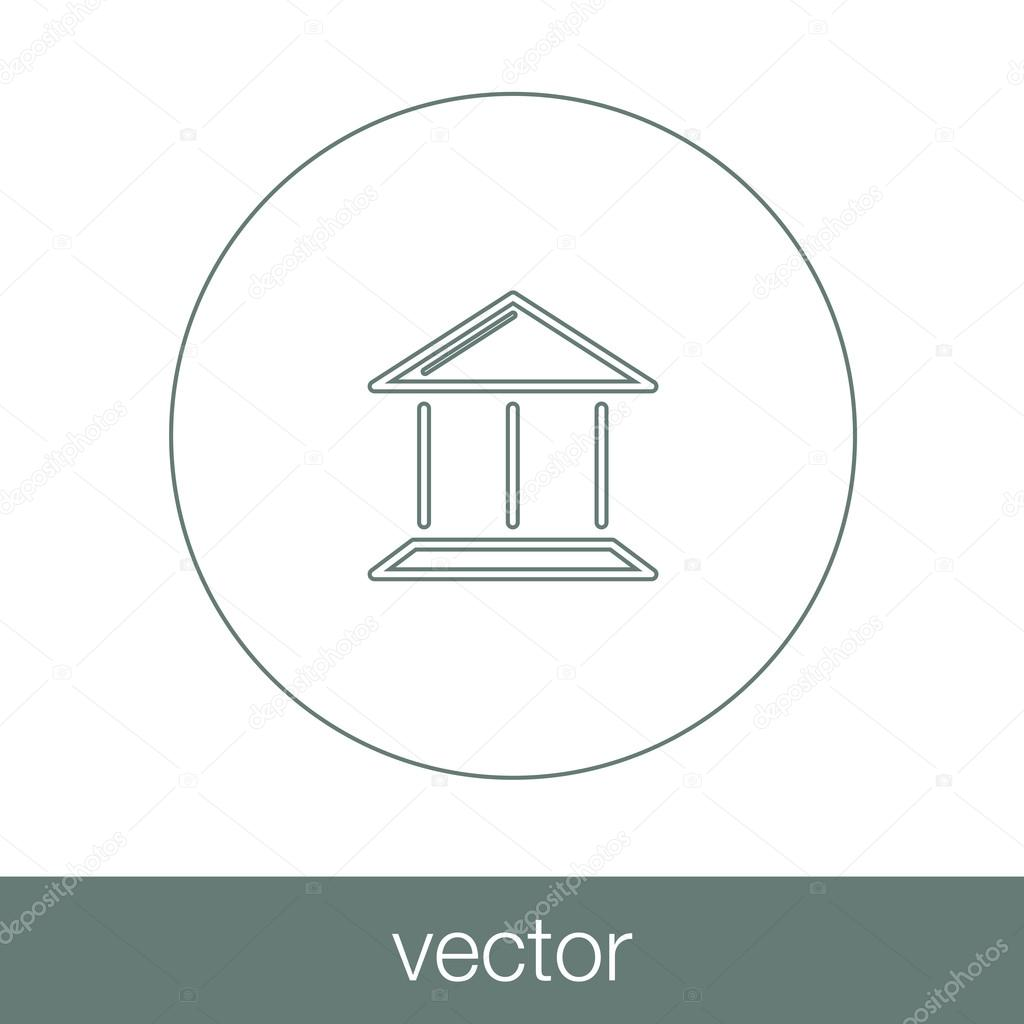 Bank Ikonen Ekonomi Symbol Finansiella Ikon Packar Ihop Byggnad