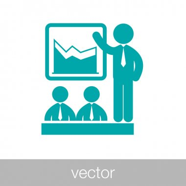 businessman presenting during a business meeting icon - data ana