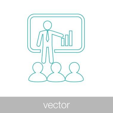 Seminar concept icon. Conference concept icon. Teacher in-front