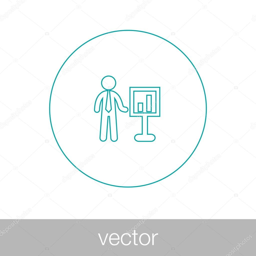 Analysis presentation icon. Business man analyzing data. Chart i