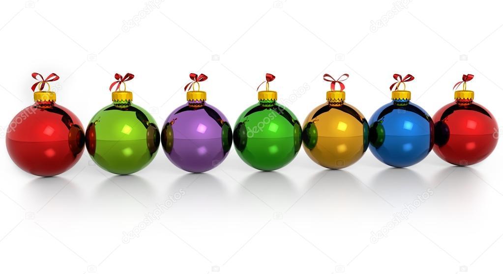 Hilera de bolas de navidad colores sobre fondo blanco foto de stock paulistano 51926005 - Fotos de bolas de navidad ...