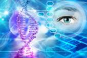 Šroubovice DNA a lidské oko v modrém pozadí abstraktní