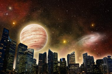 Skyline of a futuristic city in outer space
