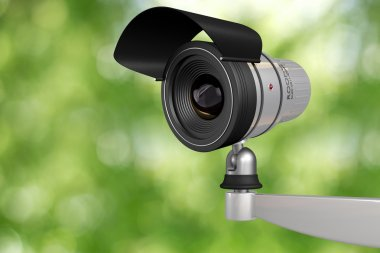 Cctv video camera security system in green background