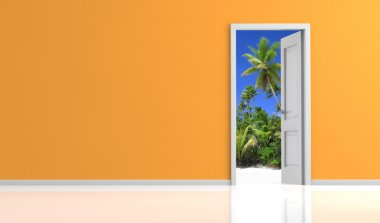 Orange wall and white door open on a tropical landscape