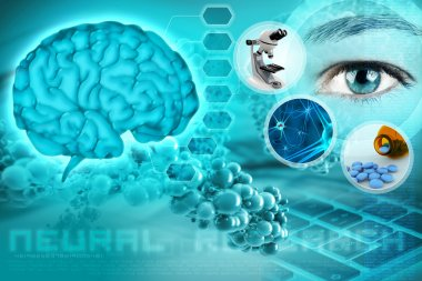Human brain and eye in an abstract neurological background