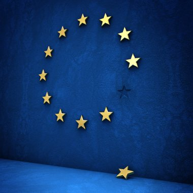 Exit from the eurozone: golden star fallen from a blue wall