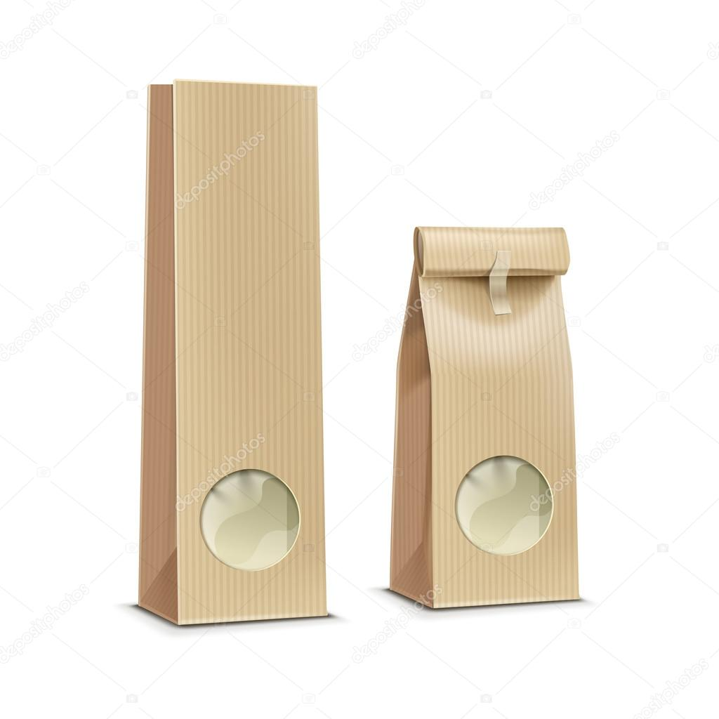 b207fcc4ef Διάνυσμα τσάι καφέ χαρτί συσκευασίας πακέτο πακέτο τσάντα με παράθυρο–  εικονογράφηση αρχείου