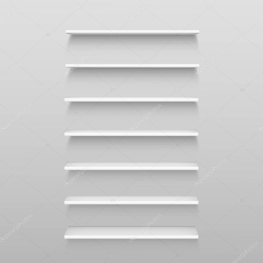 Plank Muur Blind.Vector Witte Lege Plank Planken Geisoleerd Op Muur Achtergrond