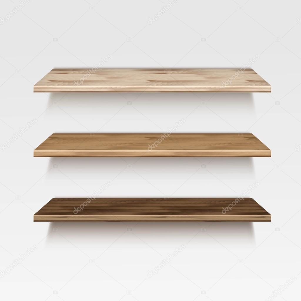 vector vaco repisa madera estantes aislados sobre fondo de pared u archivo imgenes vectoriales