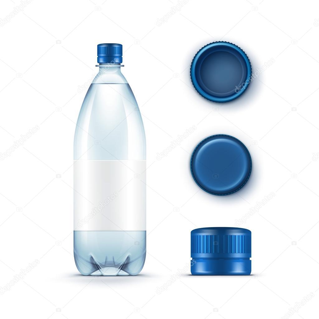 vecteur vide en plastique bleu bouteille d eau avec ensemble de bouchons isol e on white. Black Bedroom Furniture Sets. Home Design Ideas