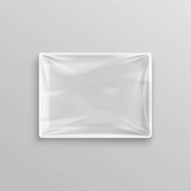 Vector White Transparent Empty Disposable Plastic Food Container for package design Top View Close up Isolated on Background clip art vector