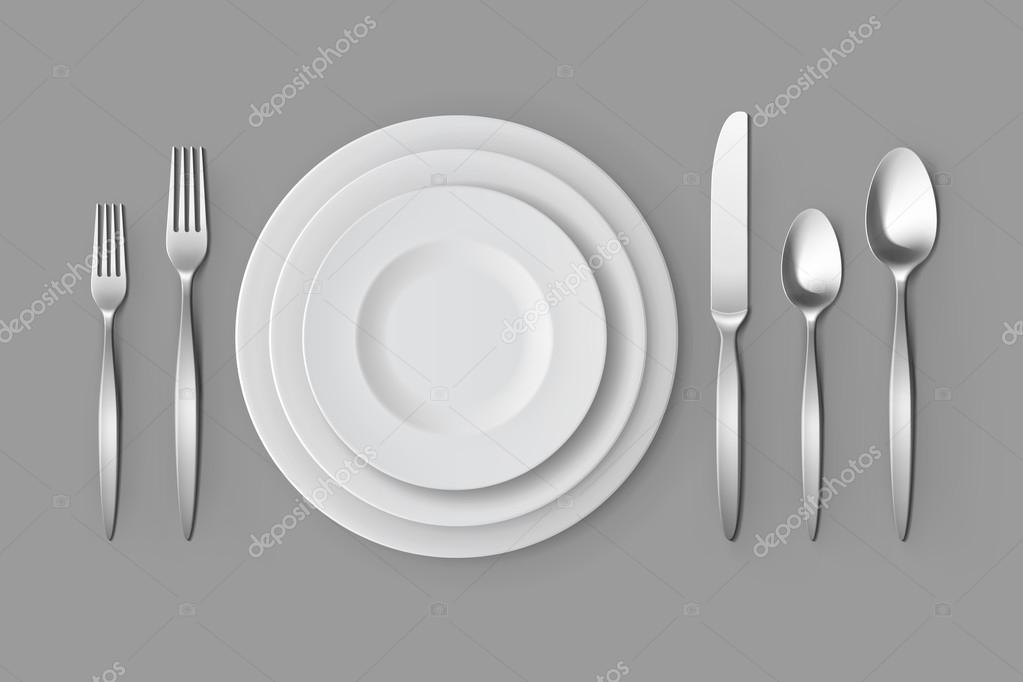 Vector Cutlery Set of Silver Forks Spoons and Knifes with Plates Top View Isolated on Background. Table Setting u2014 Vector by Zonda & Cutlery Silver Forks Spoons and Knifes with Plates Table Setting ...