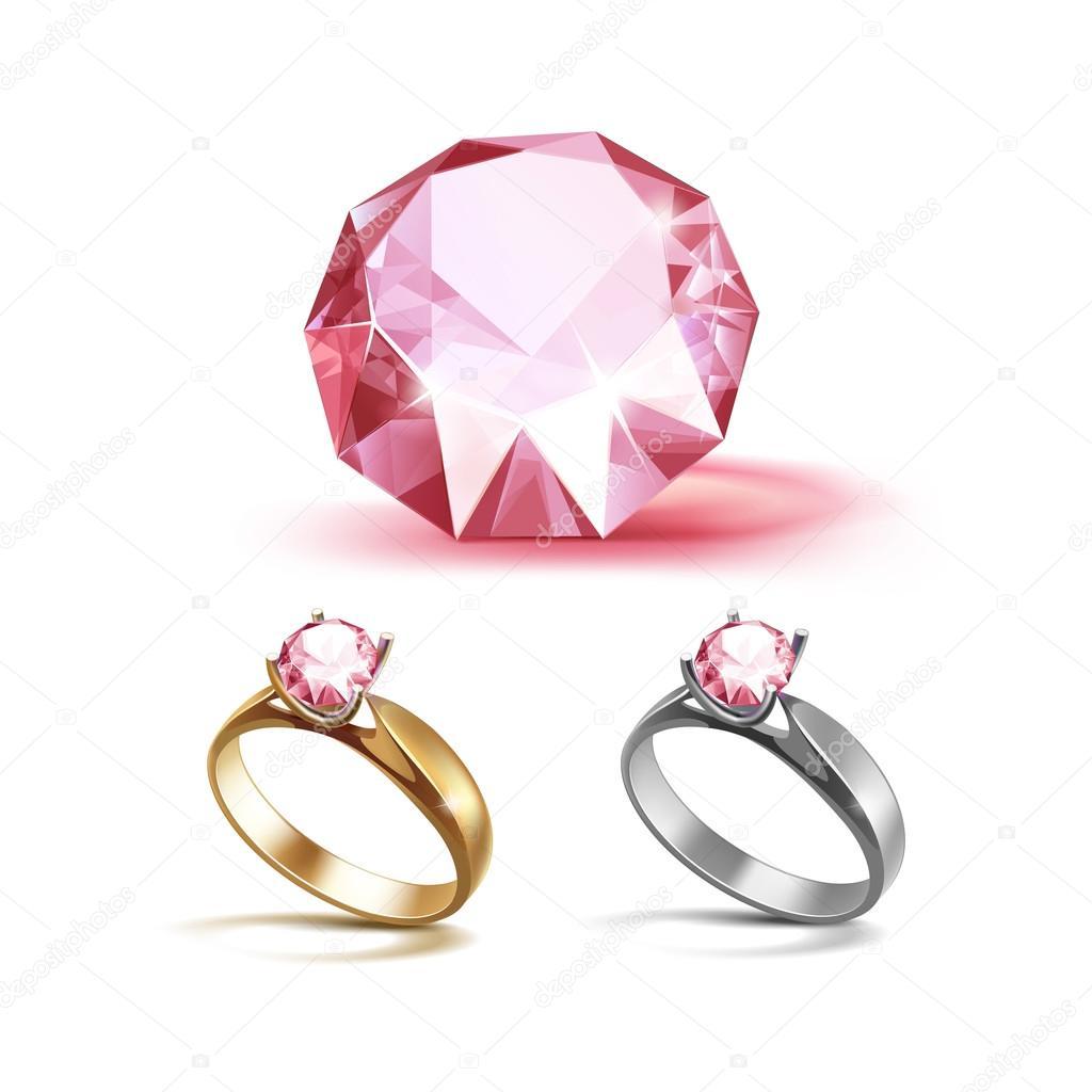 Gold Und Silber Verlobungsringe Mit Glanzenden Rosa Diamant