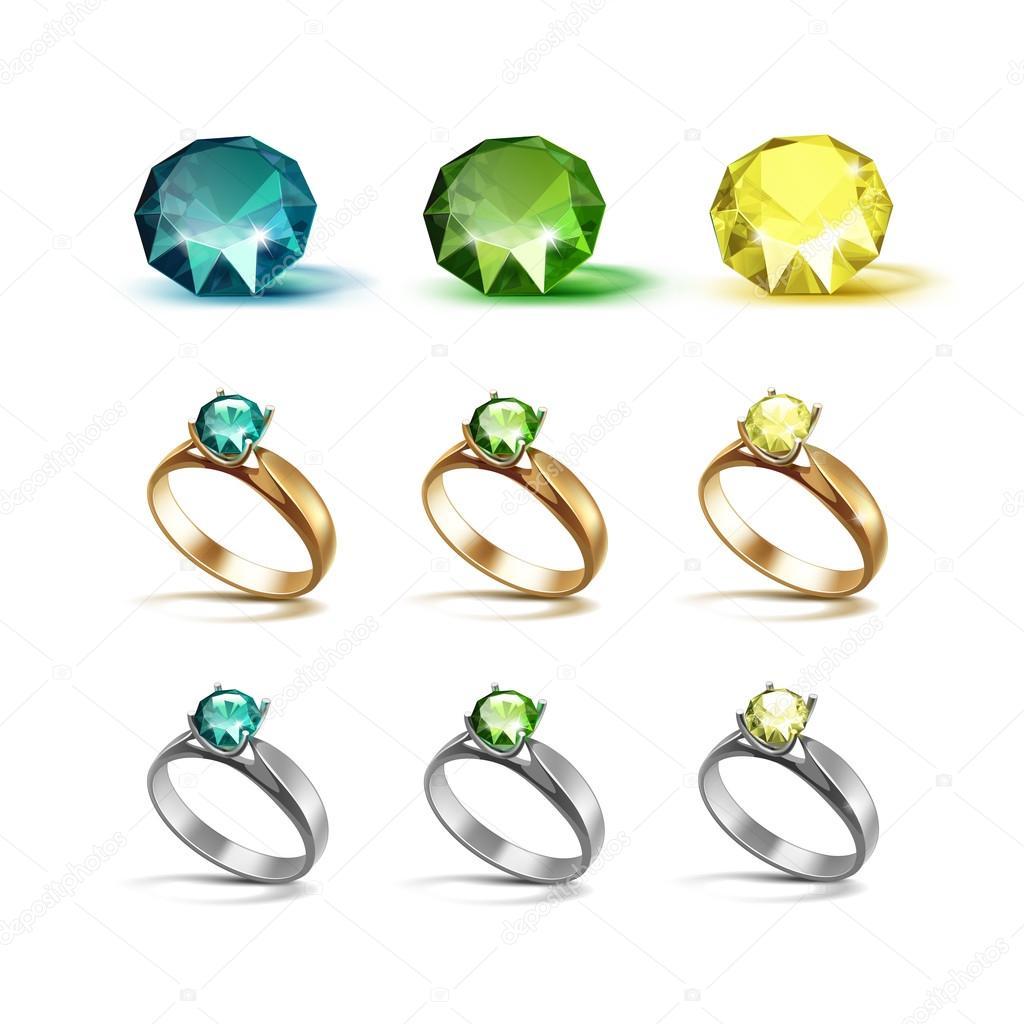 Gold Silber Verlobungsringe Mit Smaragd Grunen Und Gelben Diamanten