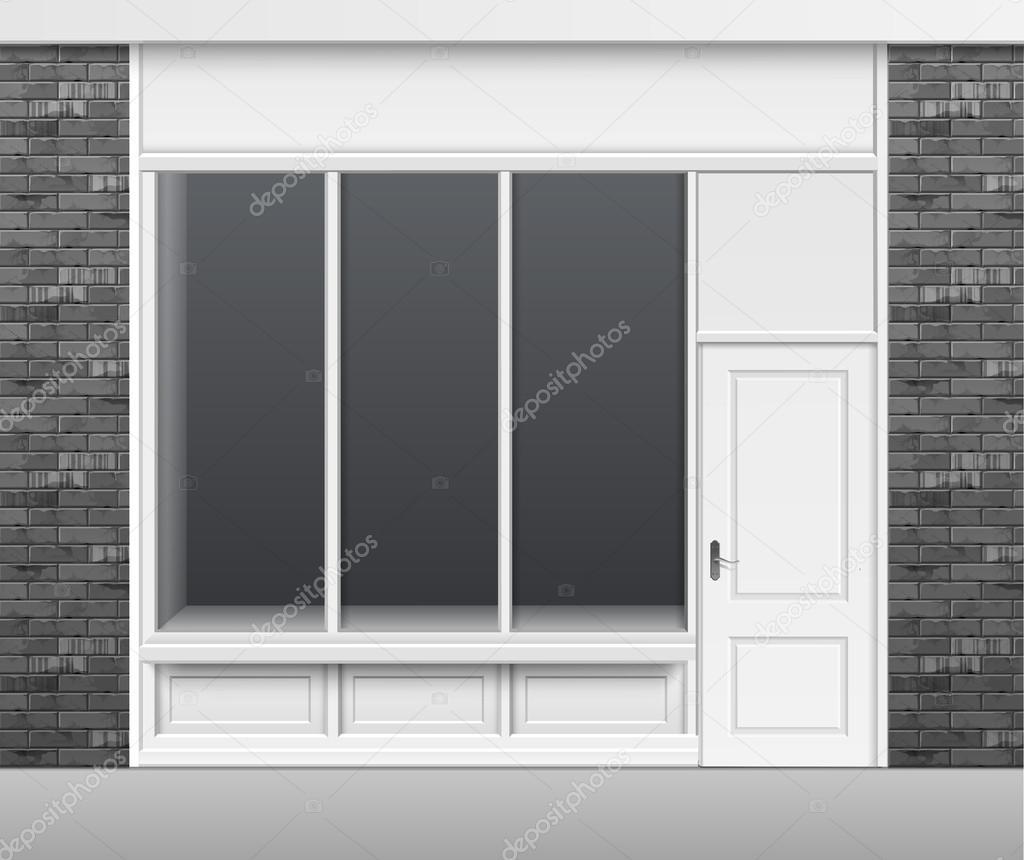 Türen shop  Ladenzeile mit Windows Schaufenster und Türen — Stockvektor #121483484