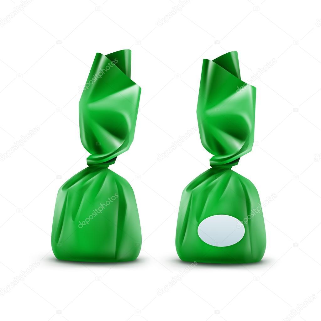 Chocolate dulce en envoltura verde sobre fondo — Vector de stock ...