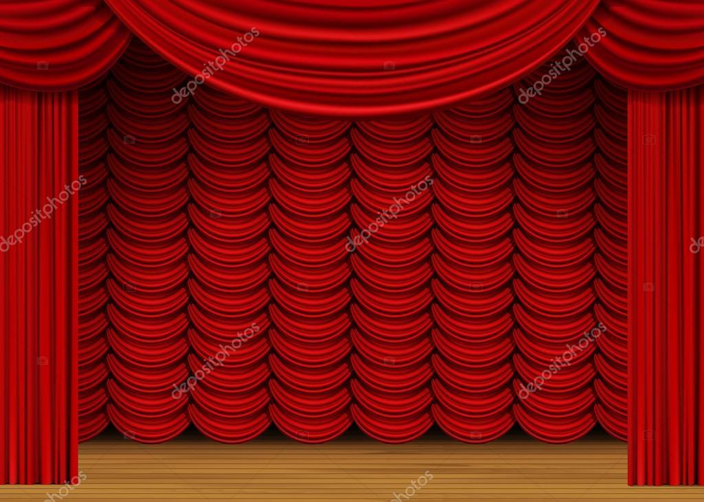 escena del vector con cortinas rojas y piso de madera u vector de stock