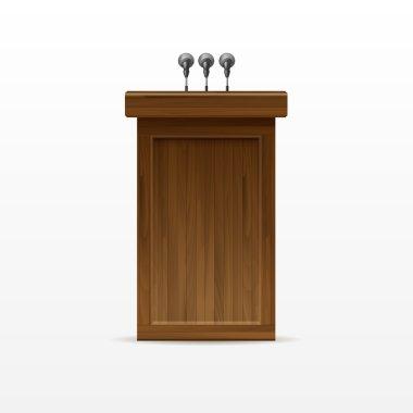 Wood Podium Tribune Rostrum Stand with Microphone