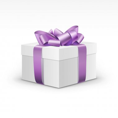 White Gift Box with Light Purple Violet Ribbon