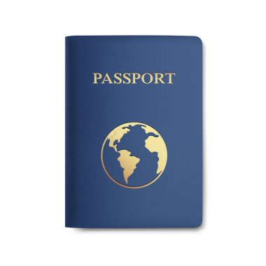 Vector Passport with Map Isolated on White