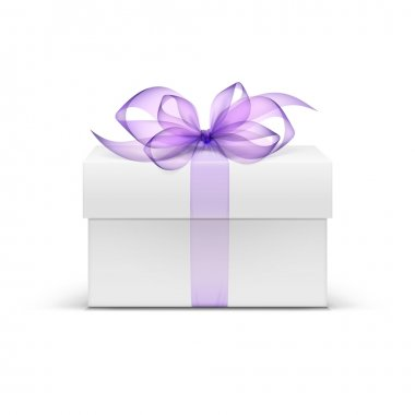 Vector White Square Gift Box with Light Purple Violet Lavender Ribbon and Bow Isolated stock vector