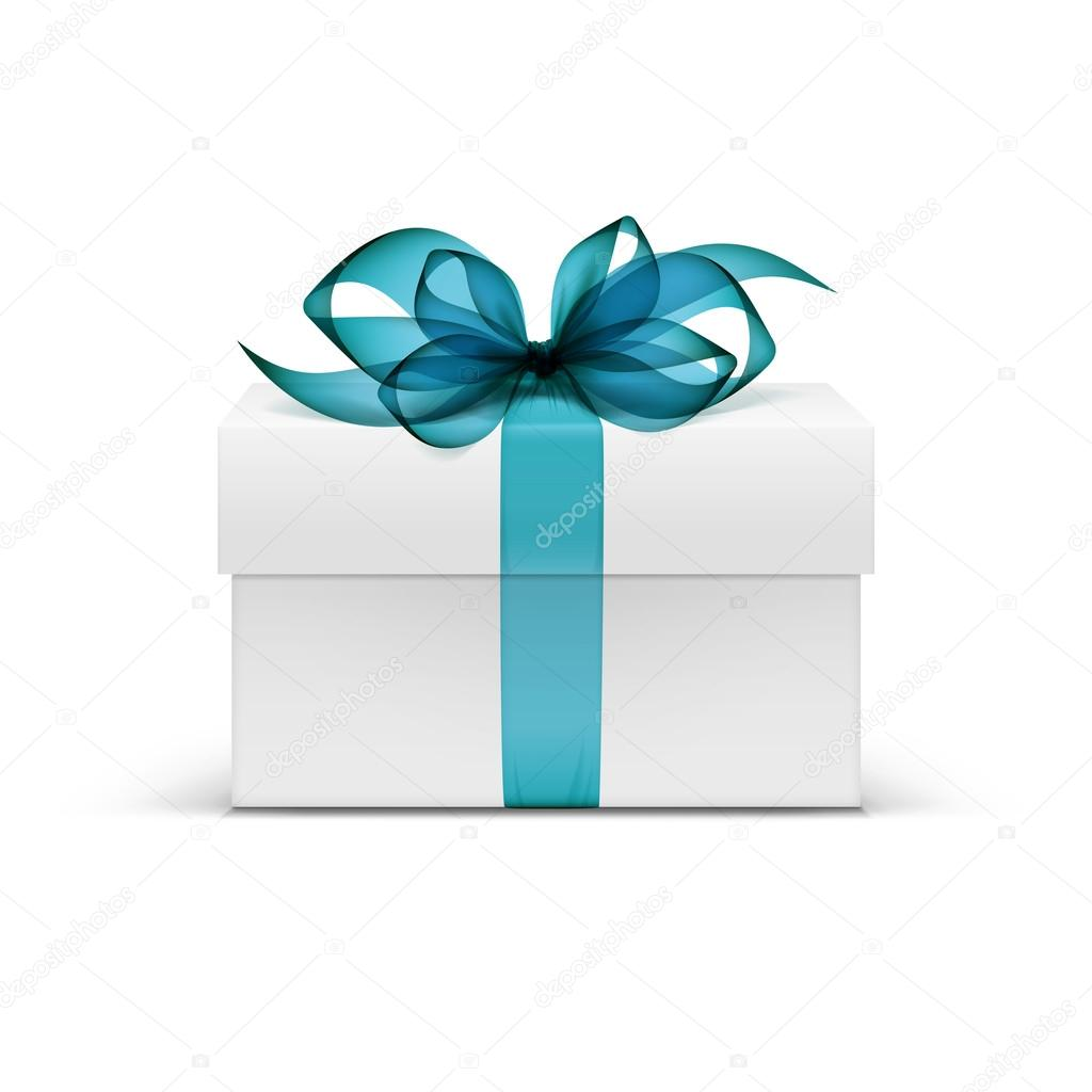 White Square Gift Box with Light Blue Ribbon