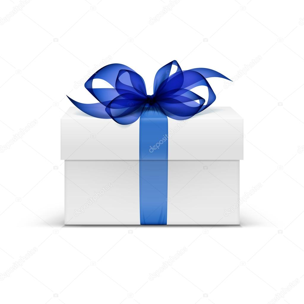 White Square Gift Box with Blue Ribbon and Bow