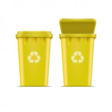 Vector Yellow Recycle Bin for Trash and Garbage