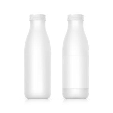 Set of Blank White Bottles for Milk or Yogurt