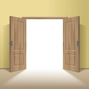 Vector Wood Open Door with Frame Isolated