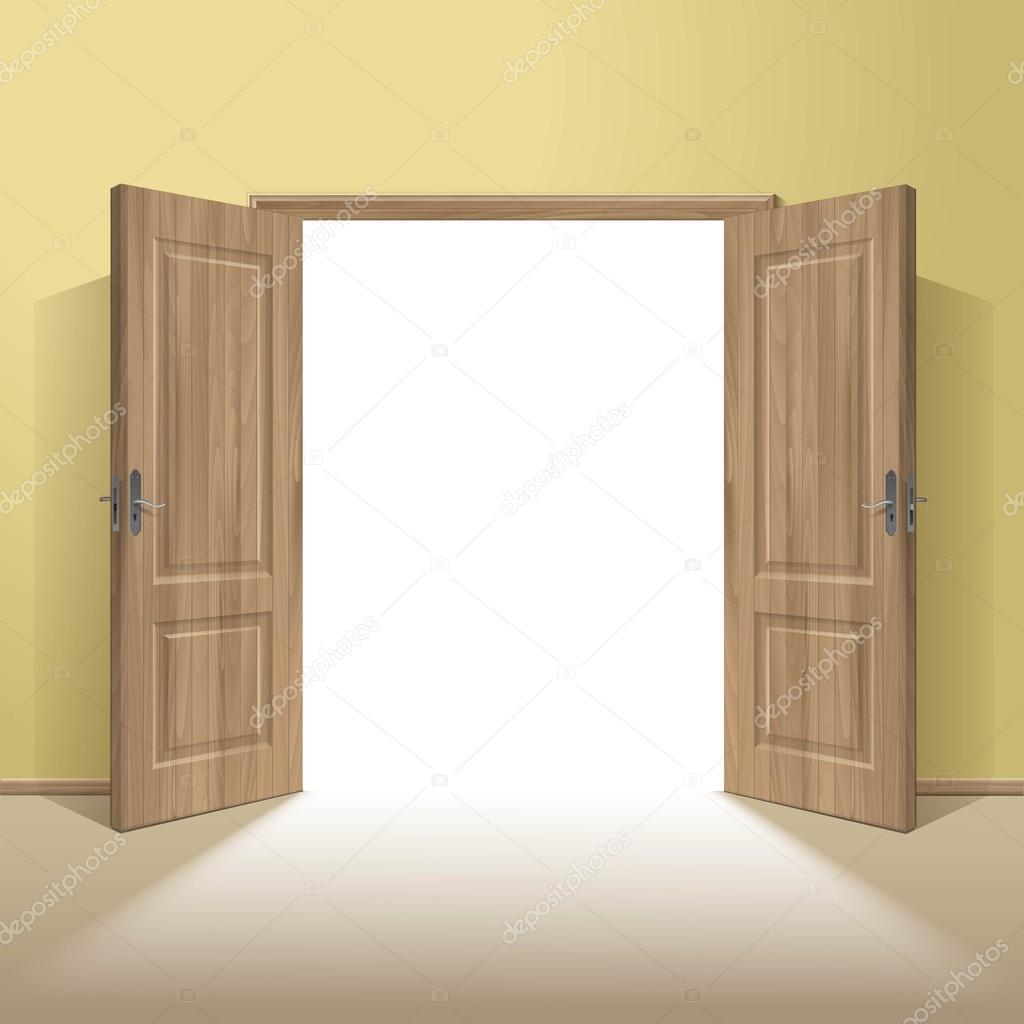 Vector la puerta de madera abierta con marco aislado — Archivo ...