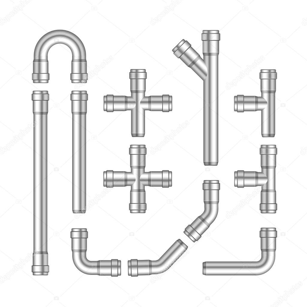 Vector Set of Metal Pipes Isolated