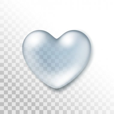 Vector Realistic Water Heart Drop Isolated on Transparent Background clip art vector