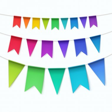 Vector Set of Multicolored Buntings Garlands Flags Isolated