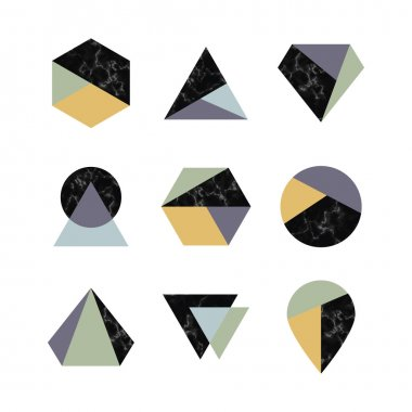 Set of icons, geometric logo with marble texture