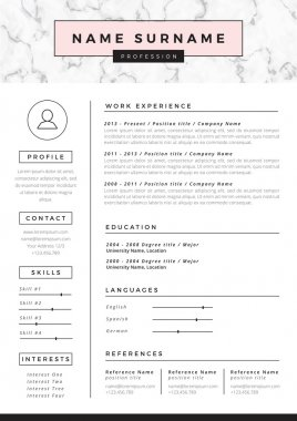 Resume template with marble texture