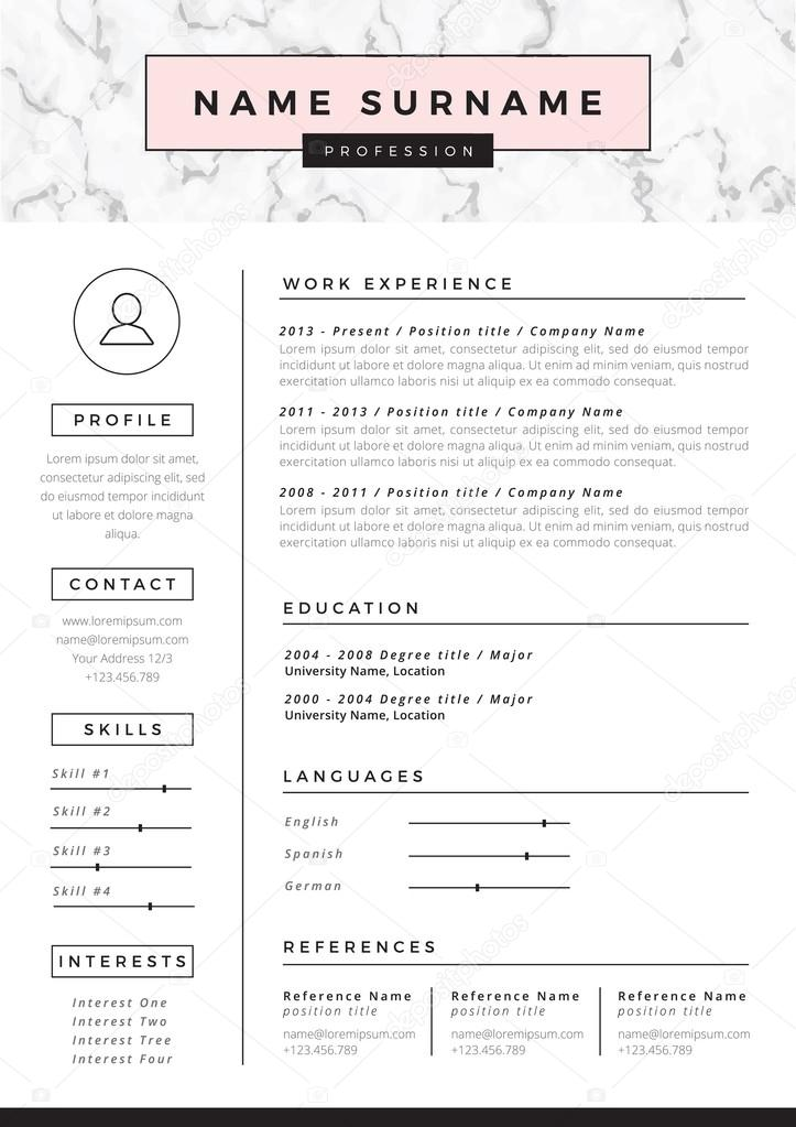 resume template with marble texture  u2014 stock vector  u00a9 hellena13  102307226
