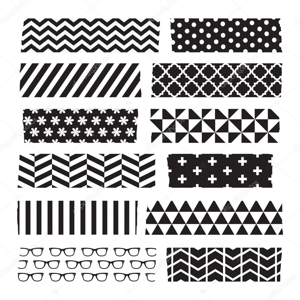 Set Van Zwart Wit Patroon Washi Tape Strips Stockvector