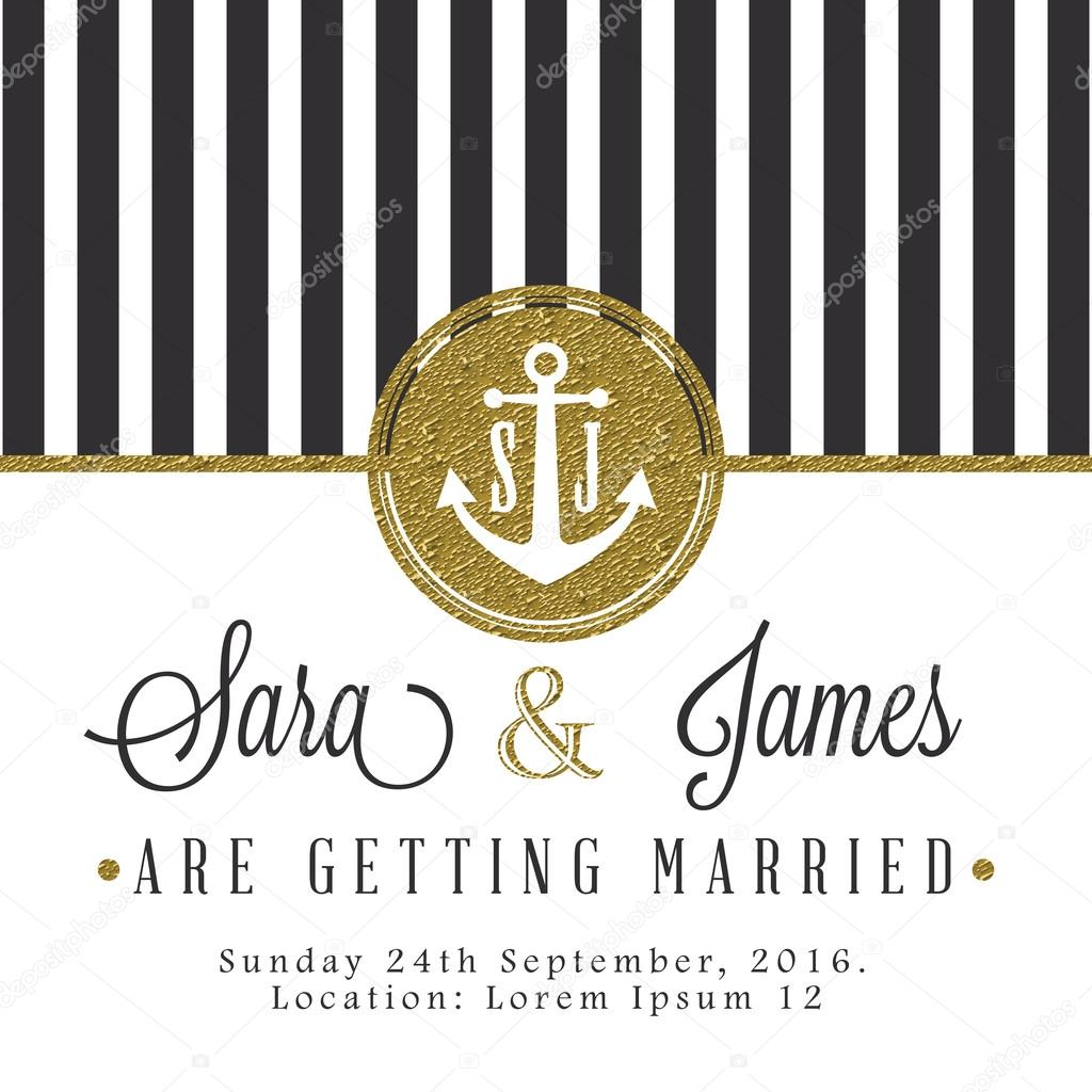 Modern card, for invitation or announcement with golden details. Dark grey stripes