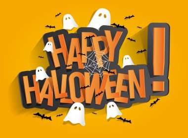 Happy Halloween Card Design Elements On Background, vector illustration stock vector