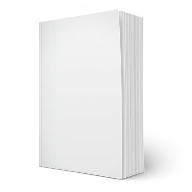Blank vertical softcover book template with spreading pages standing on white surface  Perspective view. Vector illustration. stock vector