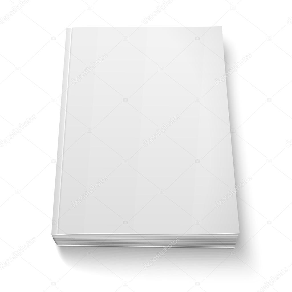 Plantilla libro tapa blanda en blanco sobre blanco — Vector de stock ...