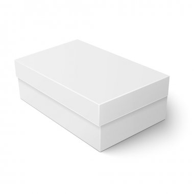 White cardboard shoebox template.